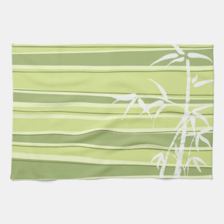 Bamboo Silhouette Striped Green Towels