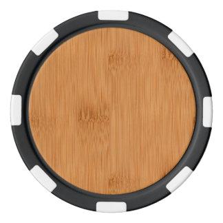 Bamboo Toast Wood Grain Look Poker Chip Set