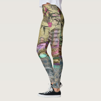 Bamboo Village on Silk & Parchment Leggings