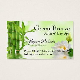 Bamboo Water Lotus Spa Skin Care Massage Salon Business Card