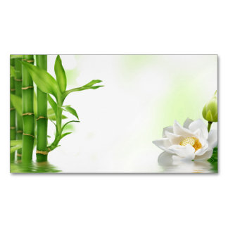 Bamboo Water Lotus Spa Skin Care Massage Salon Magnetic Business Card