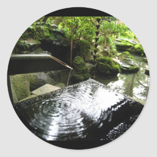 Bamboo Waterfall in Japan Classic Round Sticker