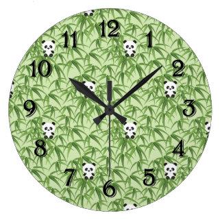 Bamboo with Pandas Large Clock
