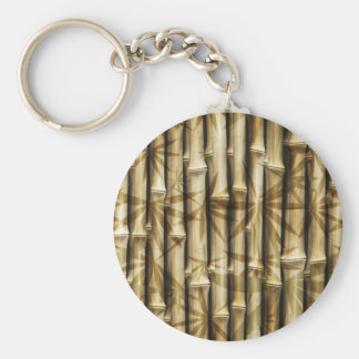 Bamboo Wood Texture Basic Round Button Keychain