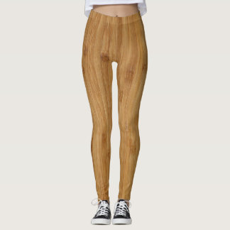 Bamboo Wood Texture Look Leggings