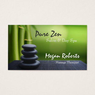 Bamboo Zen Stones Spa Skin Care Massage Salon Business Card