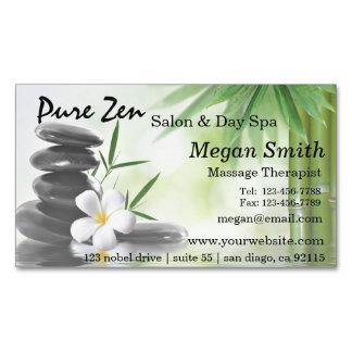 Bamboo Zen Stones Spa Skin Care Massage Salon Magnetic Business Card