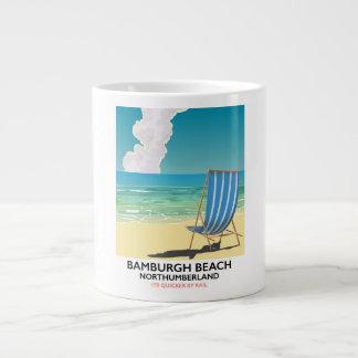 Bamburgh Beach Northumberland train poster Large Coffee Mug