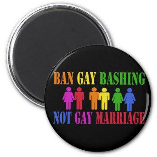 Ban Gay Bashing 2 Inch Round Magnet