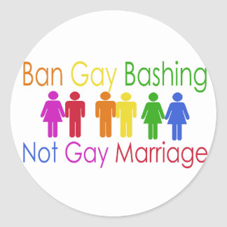Ban Gay Bashing Classic Round Sticker