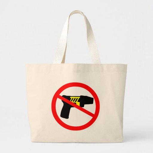 Ban tazers symbol. canvas bags