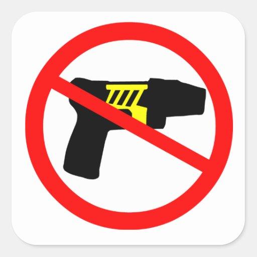 Ban tazers symbol. square sticker