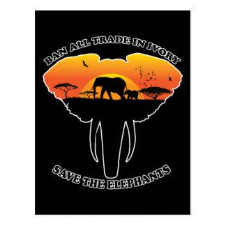 Ban trade ivory postcard