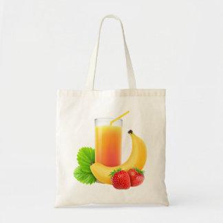 Banana and strawberry shake budget tote bag