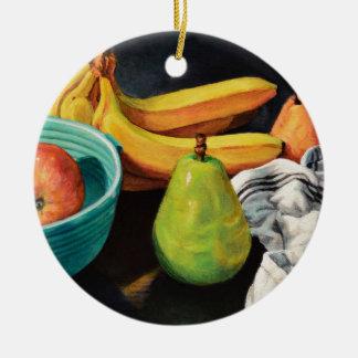 Banana Apple Pear Still Life Ceramic Ornament