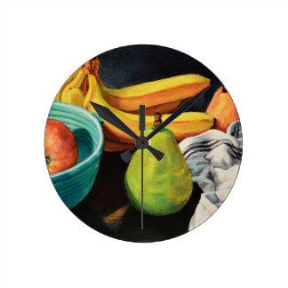Banana Apple Pear Still Life Round Clock