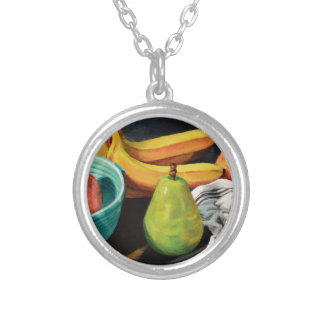 Banana Apple Pear Still Life Silver Plated Necklace