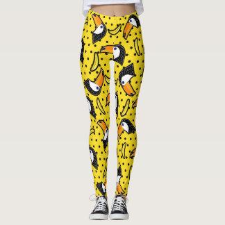 Banana & Bird Polkadots Yellow Black Summer Leggings