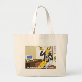 Banana CEO Funny Offbeat Cartoon Collectible Gifts Large Tote Bag