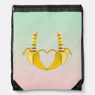 Banana Gay Pride Freedom Heart Drawstring Backpacks