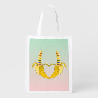 Banana Gay Pride Freedom Heart Reusable Grocery Bag