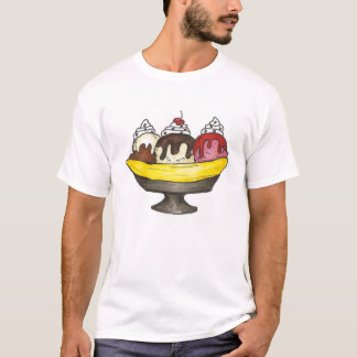 Banana Ice Cream Sundae Split Foodie T-Shirt