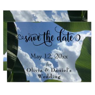 Banana Leaf Framed Sky Tropical Save the Date Card
