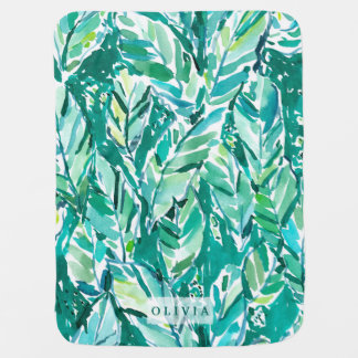 BANANA LEAF JUNGLE Green Tropical Baby Blanket