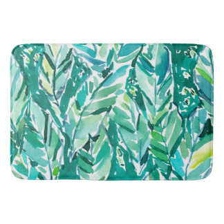 BANANA LEAF JUNGLE Green Tropical Bath Mat