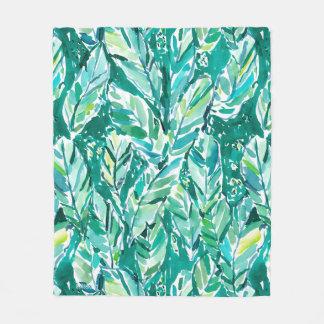 BANANA LEAF JUNGLE Green Tropical Fleece Blanket