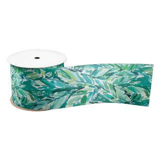 BANANA LEAF JUNGLE Green Tropical Satin Ribbon