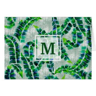 Banana Leaf Monogram Hand-Painted Green Botanical Card