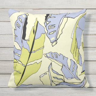 Banana leaf pillow in colors of citron & lavender