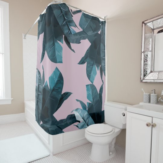 Banana Leaf Print Lilac Shower Curtain