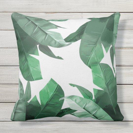 Banana Leaf Print Outdoor Throw Pillow