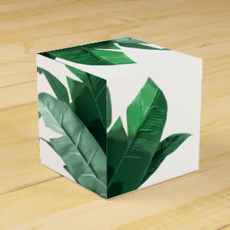Banana Leaf Print Square Favor Box