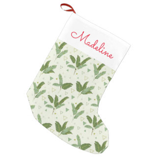 Banana Leaf With Triangles   Add Your Name Small Christmas Stocking