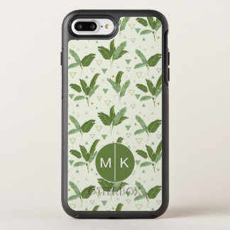 Banana Leaf With Triangles   Monogram OtterBox Symmetry iPhone 7 Plus Case