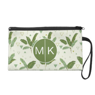 Banana Leaf With Triangles | Monogram Wristlet Purse