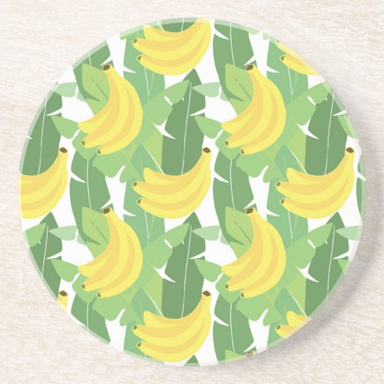 Banana Leaves And Fruit Pattern Coaster