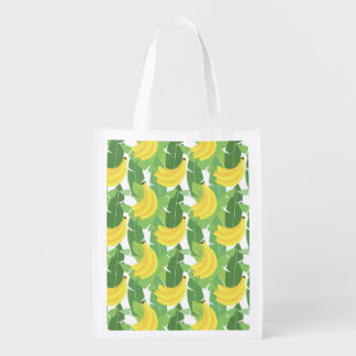 Banana Leaves And Fruit Pattern Market Tote