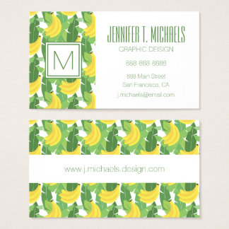 Banana Leaves And Fruit Pattern | Monogram Business Card