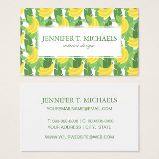 Banana Leaves And Fruit Pattern   Monogram Business Card