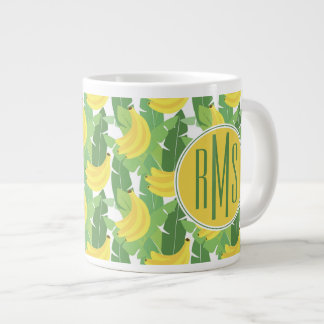 Banana Leaves And Fruit Pattern | Monogram Large Coffee Mug