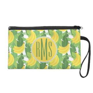 Banana Leaves And Fruit Pattern | Monogram Wristlets