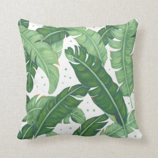 Banana Leaves Illustration Throw Pillow