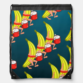 Banana Marching With A Drum Pattern Cinch Bag