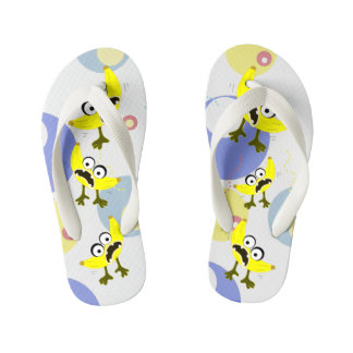 Banana Monster fruit illustration Kid's Flip Flops