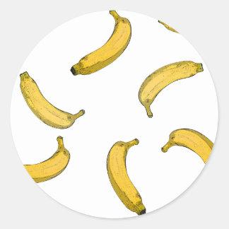 Banana pattern sketch version classic round sticker