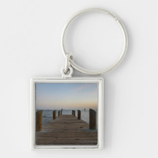 Banana River Dock Silver-Colored Square Keychain